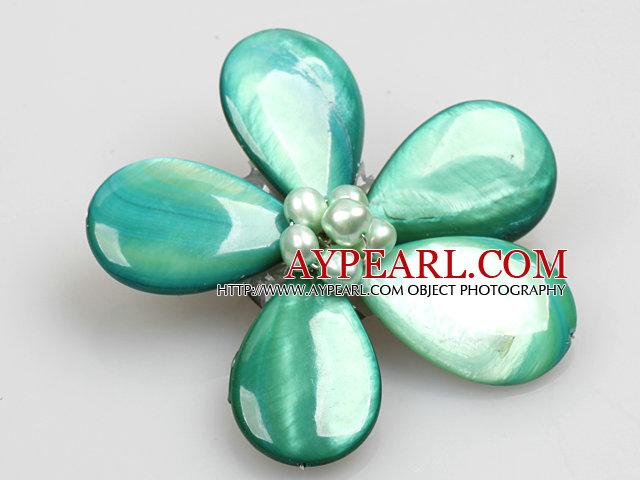 Beautiful Natural Green Pearl Drop Shape Shell Flower Brooch