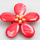 beautiful rose shape white color pearl  brooch with rhinestone