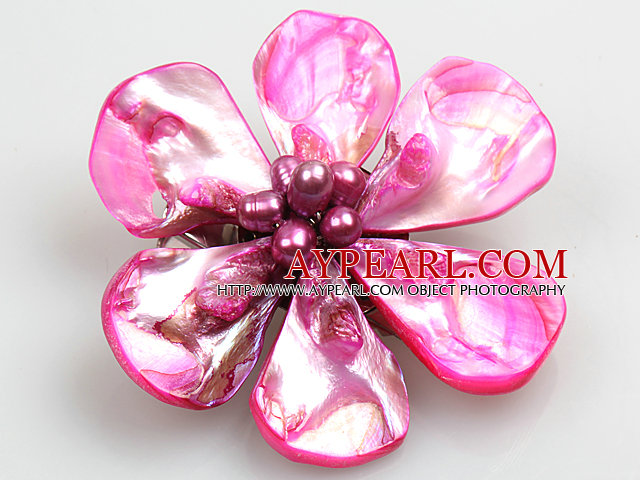 Beautiful Natural Hot Pink Pearl Shell Flower Brooch