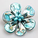 Beautiful Natural Light Blue Pearl Shell Flower Brooch