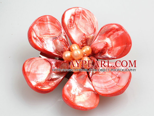 Beautiful Natural Red Pearl Shell Flower Brooch