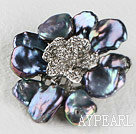 beautiful rose shape black reborn pearl  brooch with rhinestone