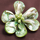 beautiful rose shape white reborn pearl  brooch with rhinestone