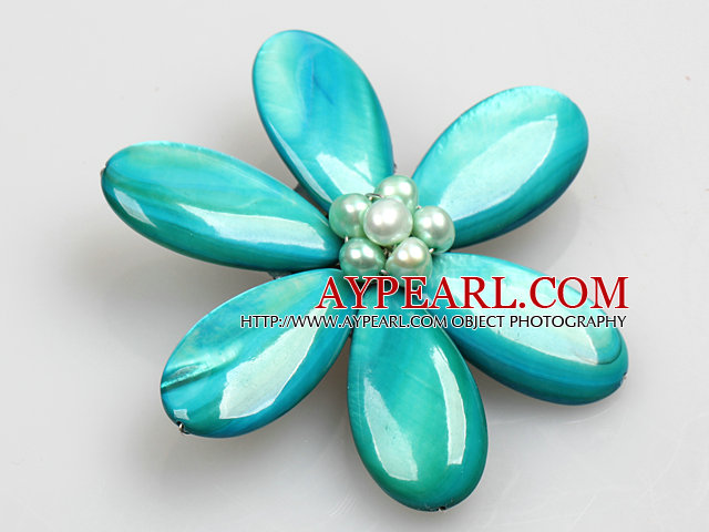 Beautiful Natural Lake Blue Pearl Drop Shape Shell Flower Brooch