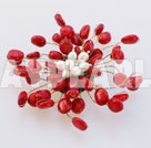 decent red coral flower brooch