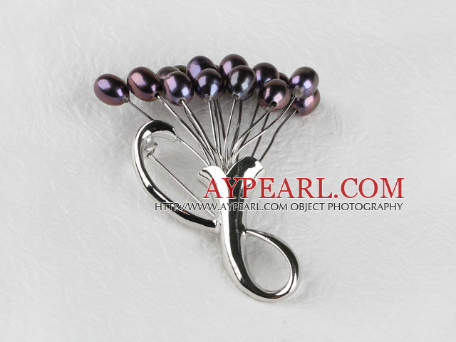 admirably rice shape black color 5-6mm pearl brooch