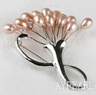 admirably rice shape pink color 5-6mm pearl brooch