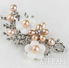Wholesale sparkly pink pearl flower brooch with rhinestone