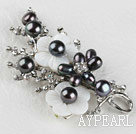 sparkly black pearl flower brooch with rhinestone