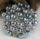 noble black pearl brooch with rhinestone