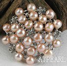 Wholesale noble pink pearl brooch with rhinestone