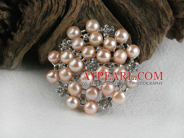 Lovely Noble Pink Freshwater Pearl Brooch With Rhinestones