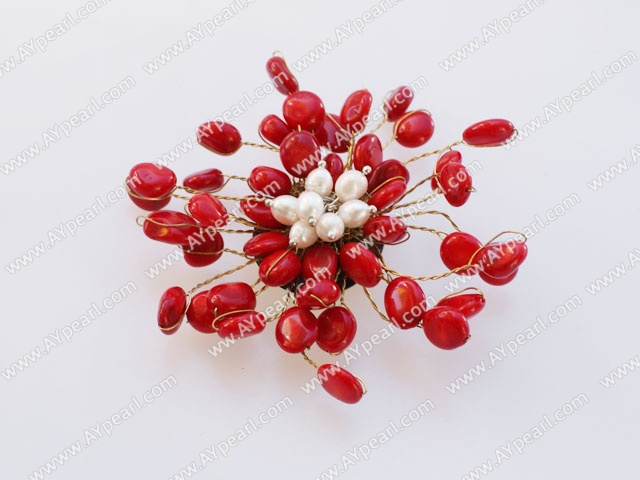 Nice Decent Multi Red Coral And White Freshwater Golden Wired Flower Brooch