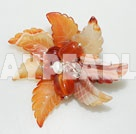 Elegant And Hot White Pearl Crystal And Red Leaf Shape Agate Flower Brooch
