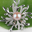beautiful natural pink color pearl brooch with rhinestone
