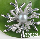 beautiful gray color pearl brooch with rhinestone