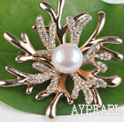 beautiful white color pearl brooch with rhinestone