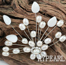 New Design White Freshwater Pearl and White Shell Flower Brooch