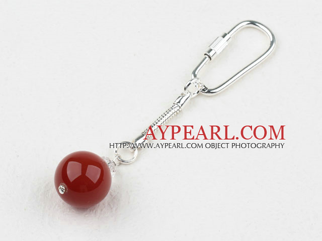 Simple Style 8Mm Round Red Carnelian Metal Charm Key Buckle
