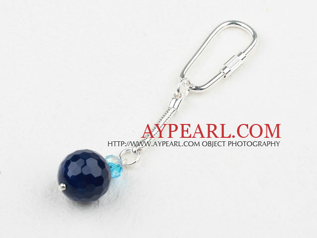 Simple Style Round Blue Agate And Light Blue Crystal Key Buckle