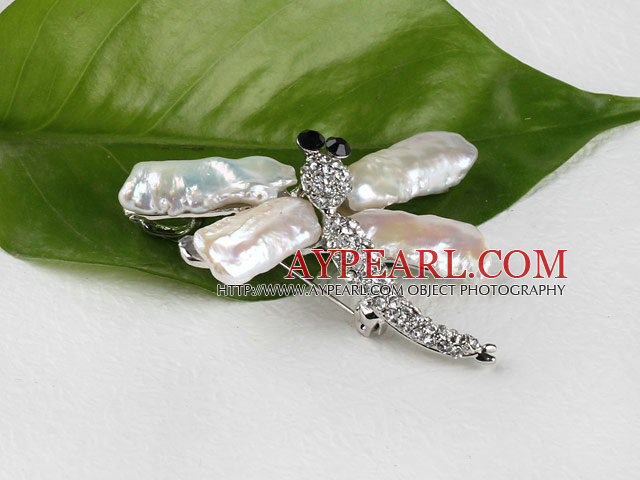 exquisite Biwa pearl dragonfly shape brooch