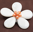 Wholesale natural purple color Biwa pearl dragonfly shape brooch with rhinestone