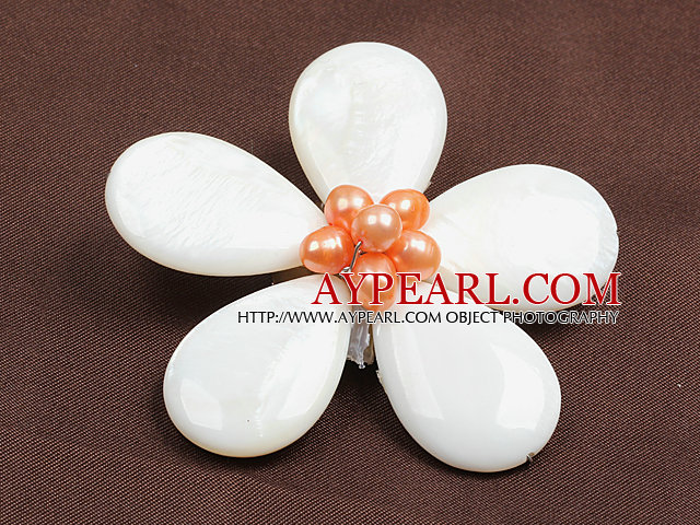Beautiful Natural Pink Pearl Drop Shape White Shell Flower Brooch