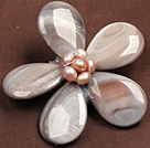natural color Biwa pearl dragonfly shape brooch with rhinestone