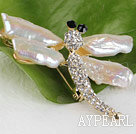 Wholesale natural white color Biwa pearl dragonfly shape brooch with rhinestone