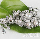 gorgeous white pearl  brooch with rhinestone