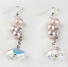 Wholesale dangling style dazzling Austrian crystl and pearl earrings