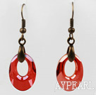 Vintage Style Donut Shape Red Color Austrian Crystal Earrings