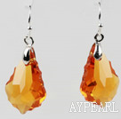 Drop Shape Amber Color Baroque Austrian Crystal Earrings
