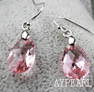 Wholesale Tear Drop Shaped 10*15mm Pink Austrian Crystal Earrings