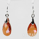 Tear Drop Shaped 10*15mm Amber Color Austrian Crystal Earrings