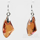 Irregular Shape 10*15mm Amber Color Austrian Crystal Earrings