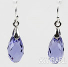 Wholesale Tear Drop Shaped 10*15mm Purple Color Austrian Crystal Earrings