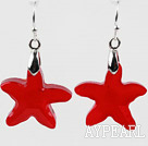 Wholesale Bright Red Color Austrian Crystal Starfish Earrings