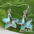 White with Colorful Austrian Crystal Starfish Earrings