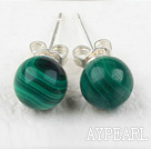 Beautiful A Grade Round Natural Malachite Studs Earrings
