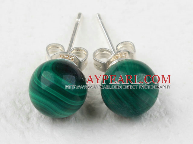 Beautiful A Grade Round Natural Malachite Studs Earrings