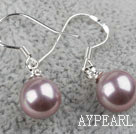 Classic Design Round 8mm Purple Seashell Beads Earrings