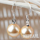 Classic Design Round 10mm Golden Color Seashell Beads Earrings