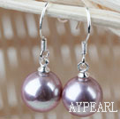 Classic Design Round 10mm Purple Seashell Beads Earrings