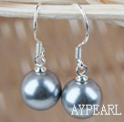Classic Design Round 10mm Gray Seashell Beads Earrings