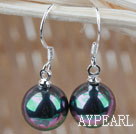Classic Design Round 10mm Black with Colorful Seashell Beads Earrings