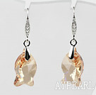 18mm Fish Shape Golden Champagne Austrian Crystal Earrings