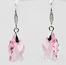 18mm Fish Shape Pink Austrian Crystal Earrings