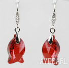 18mm Fish Shape Red Austrian Crystal Earrings