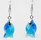 18mm Fish Shape Dark Blue Austrian Crystal Earrings